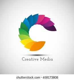 Creative logo design icon, colorful letter C symbol for business branding. Vector illustration professional logo.