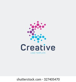 Creative logo design. Letter C logo. Abstract vector logo. Colorful logo. Dots logo