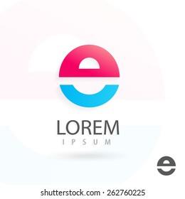 Creative logo design, letter e. Colorful vector icon. Trendy business elements.