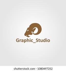 Creative logo design and Ram Head Silhouette.