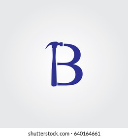 Creative logo design and Unique symbol with hamer and letter b.