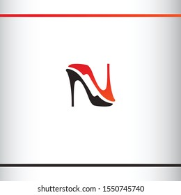 Creative logo design. Women shoes silhouette like letter N or letter Z. Black and red color. Logo design template.