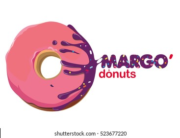 """Creative logo for the fictional company """"by Margo donuts"""" for production of donuts."""