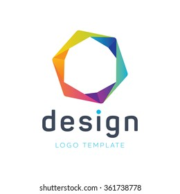 Creative logo. Hexagon logo. Colorful logo. Teamwork logo. Technology logo. Geometric logo. Origami logo. Design studio logo