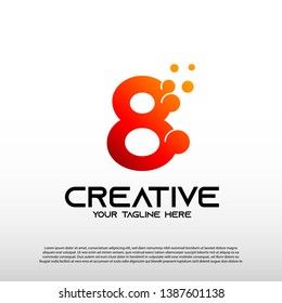 Creative logo with initial number eight. 8. technology icon, illustration element-vector