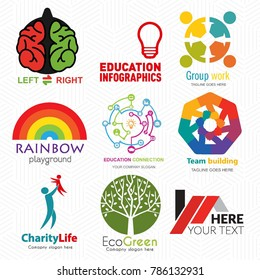 Creative Logo set. Brand identity for kids, idea, learning, estate, charity, environment concepts. Vector graphic design illustration