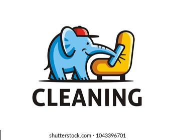 Creative logo template of room cleaning service. Vector format, available for editing. Color version on a white background.