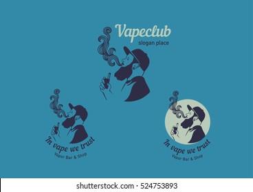 Creative logos for the club shop or electronic cigarettes, smoking men