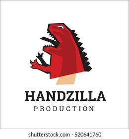 Creative logotype template for media or other business company. Dragon monster hand puppet illustration. Godzilla lizard doll sign idea.