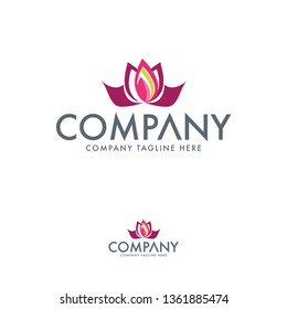 Creative lotus and tulip logo template