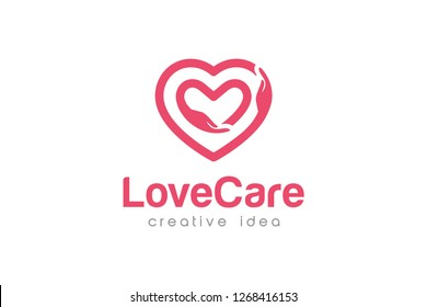 Creative Love Care Logo Design Template