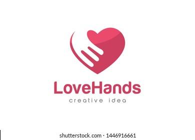 Creative Love Hand Logo Design Template