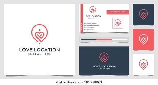 Creative love location logo design concept line art style. combine heart, pin, map and people logo design vector and business card