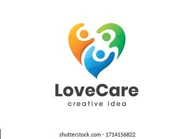 Creative Love and People Care Logo Design Template