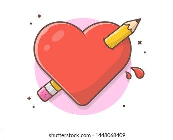 Creative Love Vector Illustration. Pencil Stab Heart. Love of Creativity. Love Graphic Design and Drawing. Flat Cartoon Style Suitable for Web Landing Page,  Banner, Flyer, Sticker, Card, Background