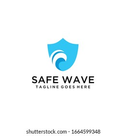 Creative luxury abstract sea water wave on shield logo icon template