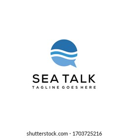 Creative luxury abstract water wave with bubble talk Logo icon Template