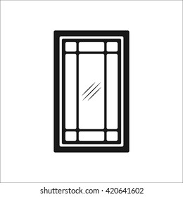 Creative luxury house window design sign  simple icon on background