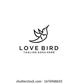 Creative luxury modern bird with heart sign logo template vector icon.