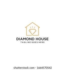 Creative luxury Modern stylist Diamond  on a house logo design vector