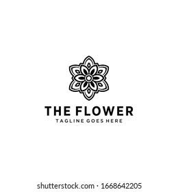 Creative luxury simple Artistic Lotus Flower logo design illustration