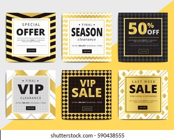 Creative luxury square social media web banners for cell phone or newsletter ad. Email promotion or sale background for online shop, store. Promotional offer flyer layout. Vector template design.
