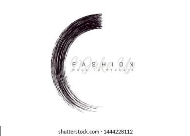 Creative make up logo. Mascara brush stroke in sphere shape. Round Vector make-up cosmetic texture design template isolated on white. Realistic mascara smear sign. Eyelash logo