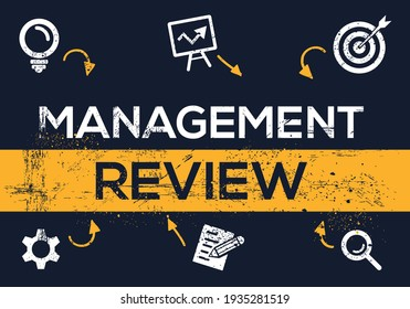 Creative (management review) Banner Word with Icon ,Vector illustration.