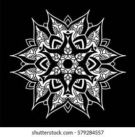 Creative mandala design. Symmetrical kaleidoscope pattern. For invitation, wedding, banner, greeting card. Vector illustration isolated.