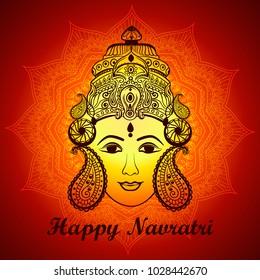 Creative mandala Frame based on Line Art with Beautiful Face of Maa Durga on decorative background for Hindu Festival Navratri.