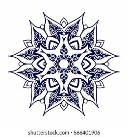 Creative mandala logo design template. Symmetrical kaleidoscope pattern. For invitation, wedding, banner, greeting card. Vector illustration on white background.