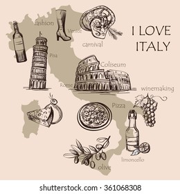 Creative map of Italy with national italian food, sights, map and flag. Colosseum, Pompeii, Vatican, Leaning Tower of Pisa, Venice, pizza, wine, carnival mask