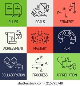 Creative marketing concept with gamification elements, marketing strategy, rules, goals, achievement | Vector illustration set of nine flat line modern style icons such as fun, mastery, appreciation