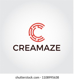 Creative maze vector logo mark. Letter C web tech logo