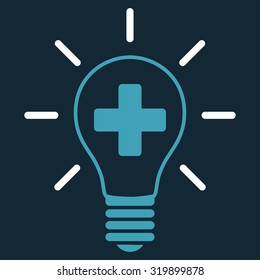 Creative Medicine Bulb vector icon. Style is bicolor flat symbol, blue and white colors, rounded angles, dark blue background.