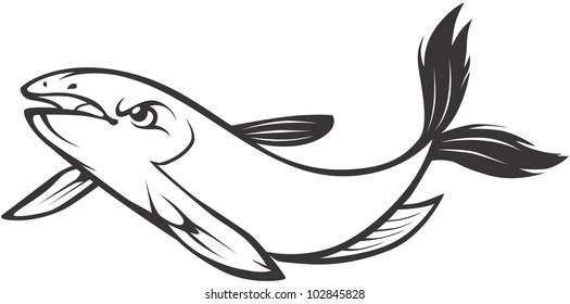 Creative Mekong Giant Catfish Illustration
