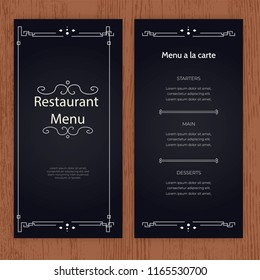 Creative menu design. Layout design, Design set for menu restaurant.