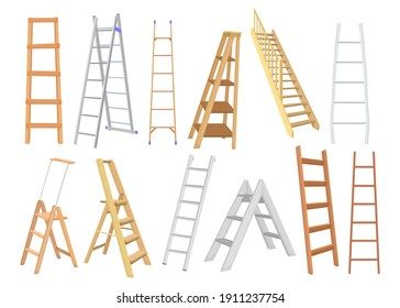 Creative metal and wooden ladders flat set for web design. Cartoon different types of stepladders for painters and builders isolated vector illustration collection. Construction and building concept