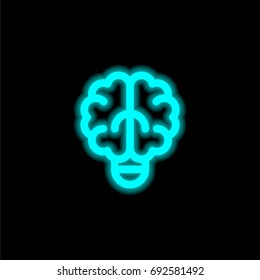 Creative mind blue glowing neon ui ux icon. Glowing sign logo vector