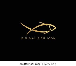 Creative Minimal Abstract Line Art Fish Icon in Gold   Creative Fish Logo Design