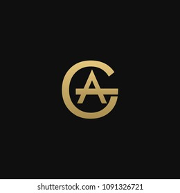 Creative minimal attractive connected artistic GA AG G A black and gold color initial based letter icon logo.