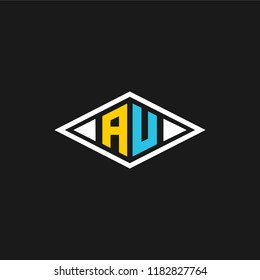 creative minimal AU logo icon design in vector format with letter A U