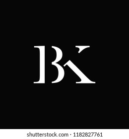 creative minimal BK logo icon design in vector format with letter B K