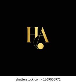 Creative and Minimal Black Gold color HA or AH initial logo