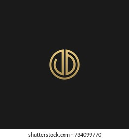 Creative and Minimal Black Gold color JD or DJ initial logo