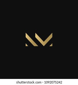 Creative minimal business brands NM MN N M attractive black and golden color initial based letter icon logo.