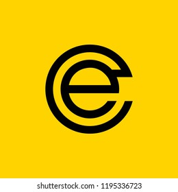 creative minimal CE logo icon design in vector format with letter C E