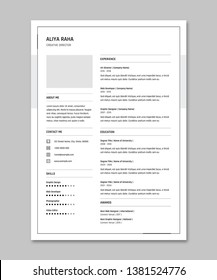 Creative Minimal Clean resume Template.