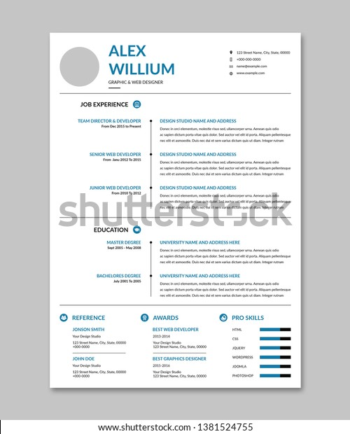 Creative Minimal Clean Resume Template Stock Vector Royalty