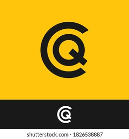 creative minimal CQ logo icon design in vector format with letter C Q